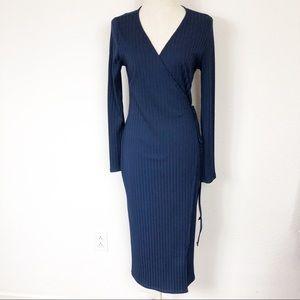 ASTR The Label Anthropologie Navy Tie Wrap Dress M